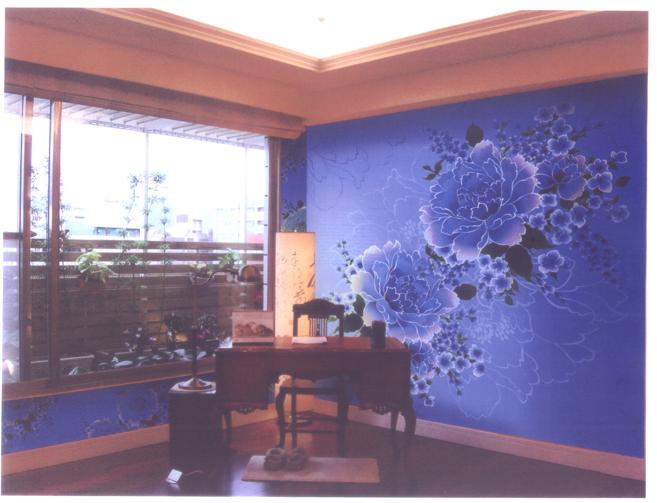 淡蓝色墙布卧室效果图