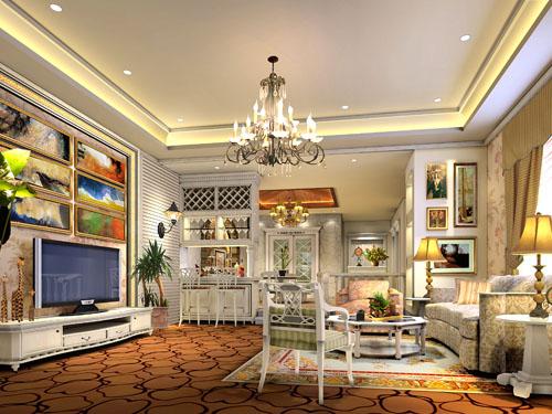 森哥美国乡村别墅客厅-香港先达装饰设计东莞公司-企